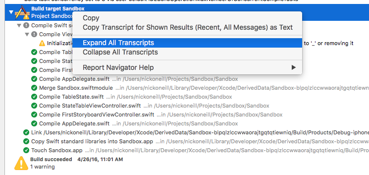 - swift expand all transcripts - Speeding Up Slow Swift Build Times
